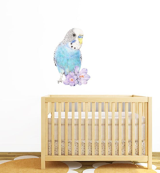 Blue Budgie Bird Wall Sticker