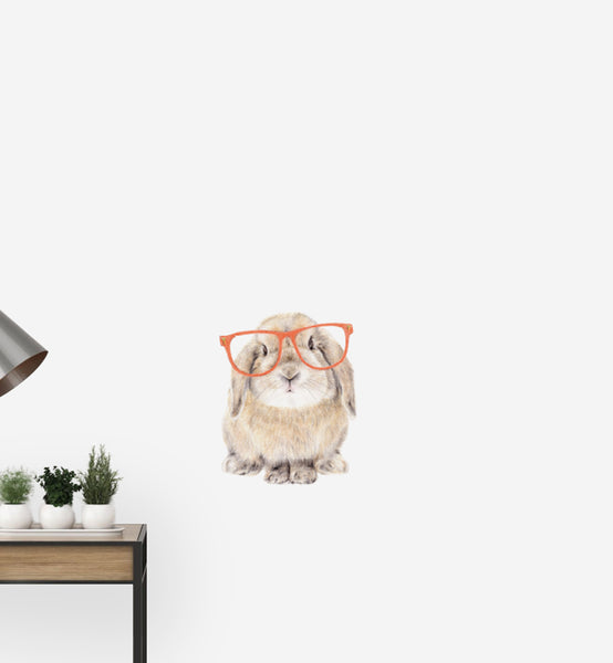 Bunny with Big Red Glasses Wall Sticker
