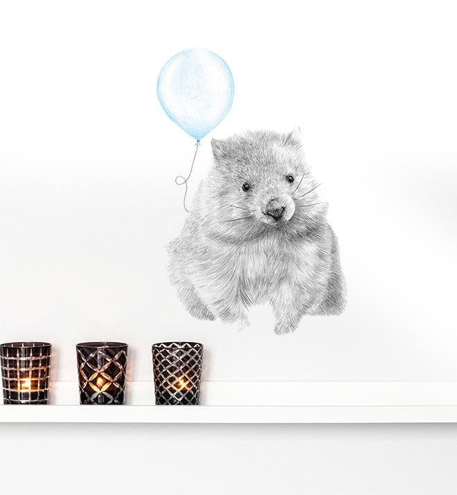 Wombat with Balloon Wall Sticker