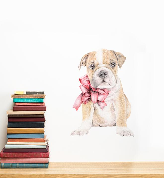 Puppy English Bulldog Wall Sticker