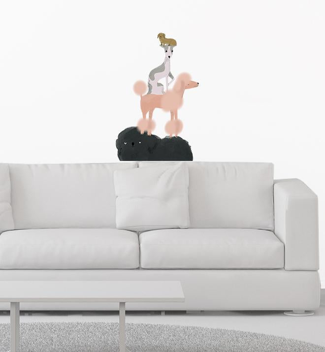 Silly Stacked Dogs Wall Sticker
