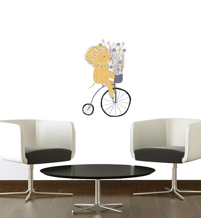 Lion Riding Bike Wall Sticker