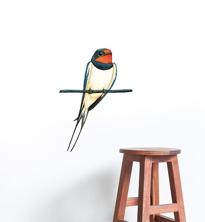 Barn Swallow Bird On Branch Wall Sticker