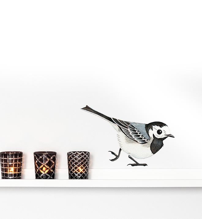 Curious White Wagtail Wall Sticker