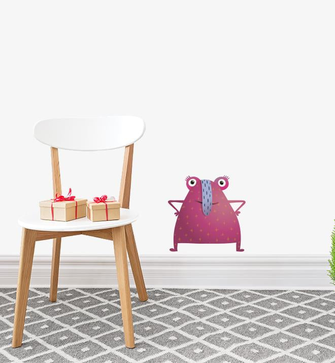 Pink Long Nosed Monster Wall Sticker