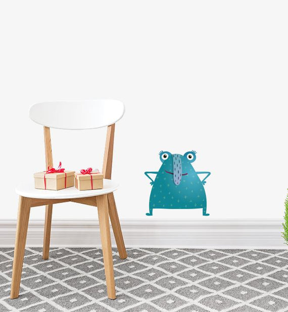 Blue Long Nosed Monster Wall Sticker