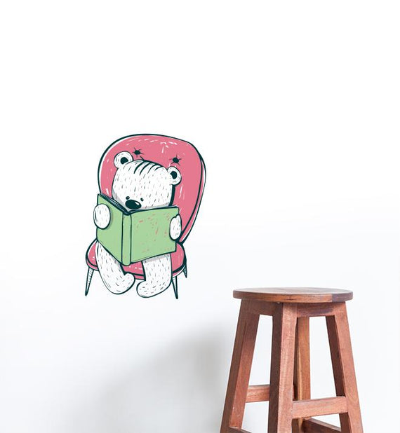 Bear Reading On Pink Chair Wall Sticker