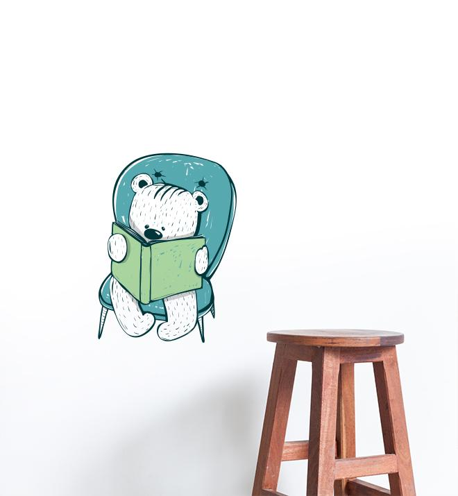 Bear Reading On Blue Chair Wall Sticker