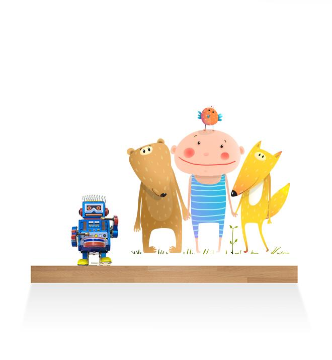 Boy Standing With Animal Friends Wall Sticker