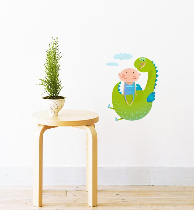 Dragon And Boy As Friends Wall Sticker