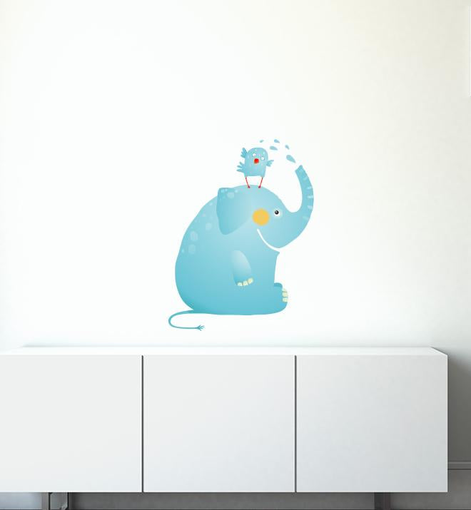 Elephant Playing With Bird Wall Sticker