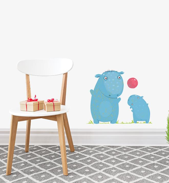 Hippos Playing Ball Together Wall Sticker
