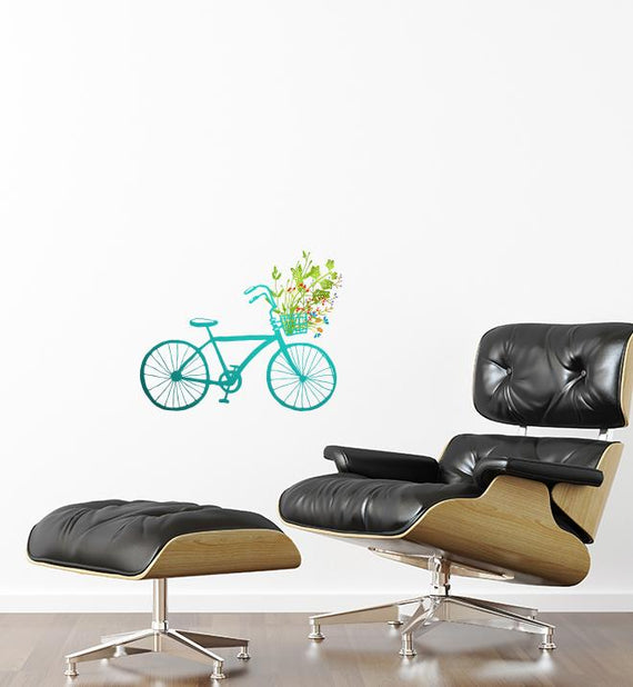 Blue Bicycle With Flowers Wall Sticker