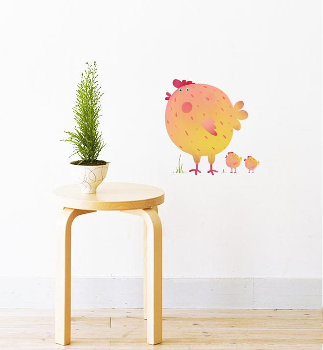 Chicken Family Together Wall Sticker