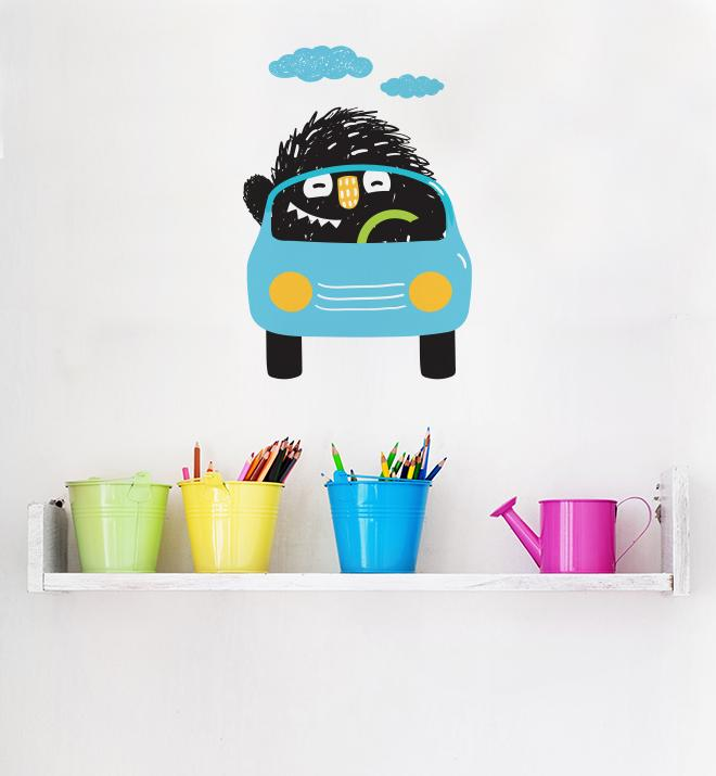 Cute Monster Driving Blue Car Wall Sticker