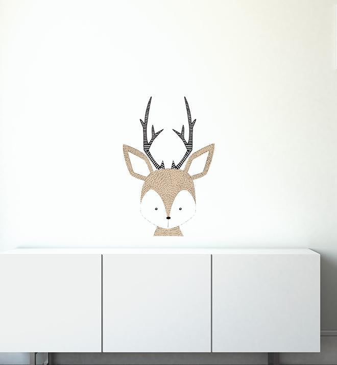 Fuzzy Deer Face Wall Sticker