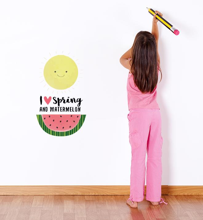 I love Spring and Watermelons Wall Sticker
