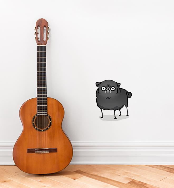 Angry Pug Black Wall Sticker