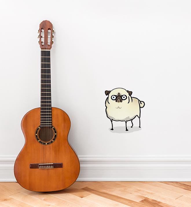 Angry Pug White Wall Sticker