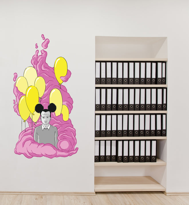 On A Pink Cloud Wall Sticker