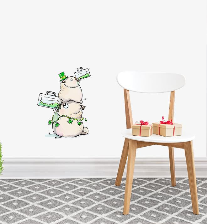 Saint Patricks Day Pugs Wall Sticker