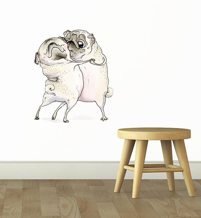 Old Love Between Pugs Wall Sticker