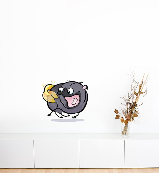 Pug Mermaid Tail Chaser Black Wall Sticker