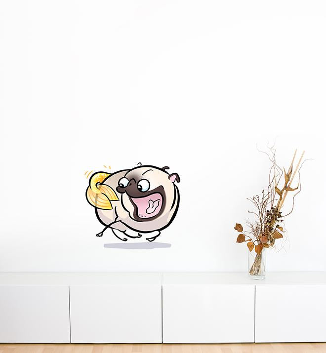 Pug Mermaid Tail Chaser White Wall Sticker