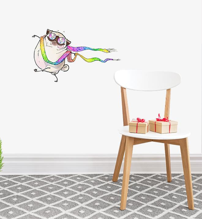 Hippie Pug Being Free Wall Sticker