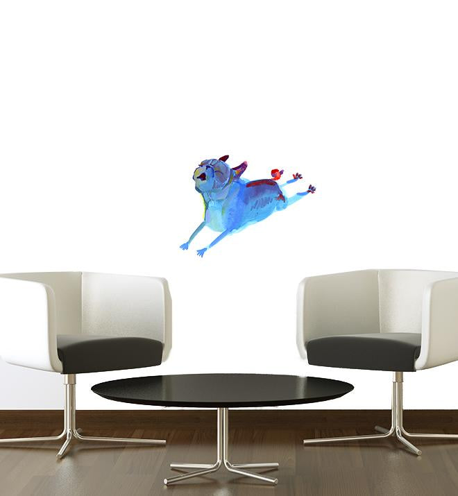 Paint Pugs Blue Leaper Wall Sticker