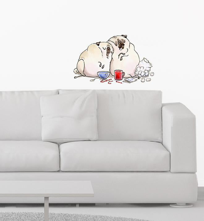 Hot Choco And A Movie Pugs Wall Sticker