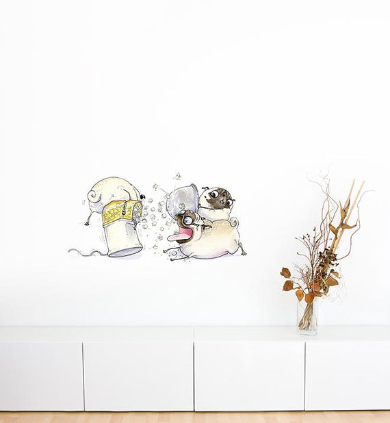 Three Popcorn Pugs Wall Sticker