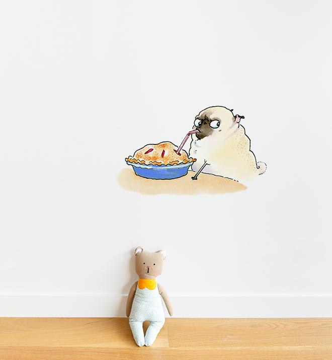 Smart Pug Eating Pie With Straw White Wall Sticker