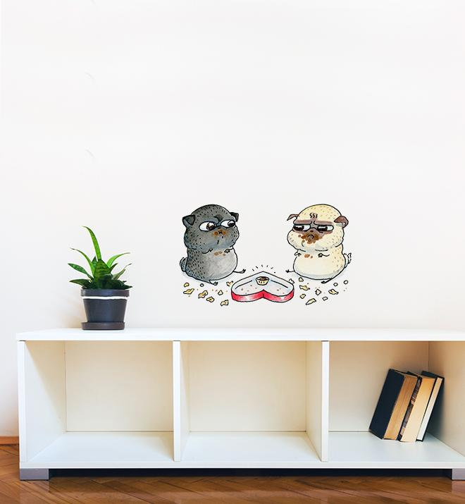 Last Is Mine Pug Fight Wall Sticker