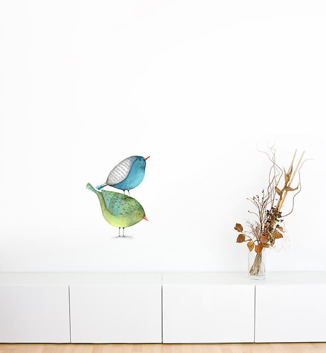 Two Birds Stacked Up Wall Sticker