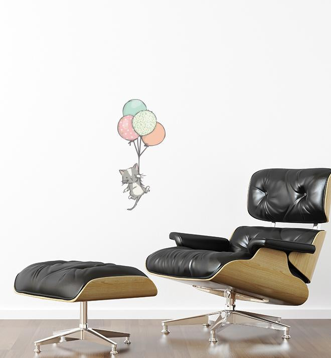 Cat Floating With Balloons Wall Sticker
