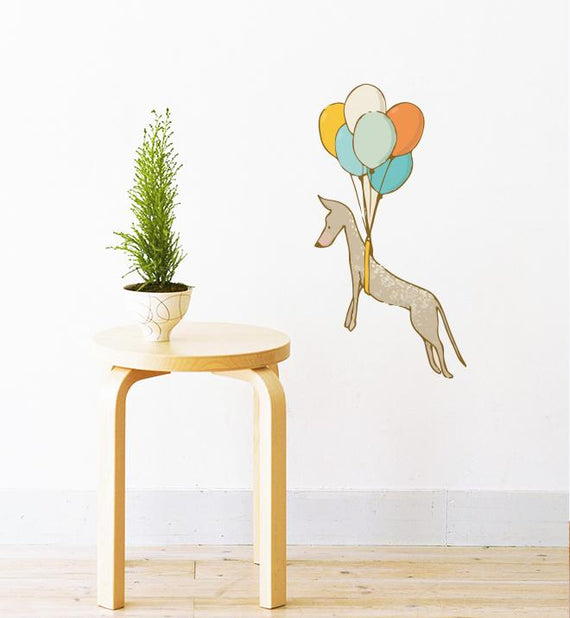 Dog On Balloons Wall Sticker
