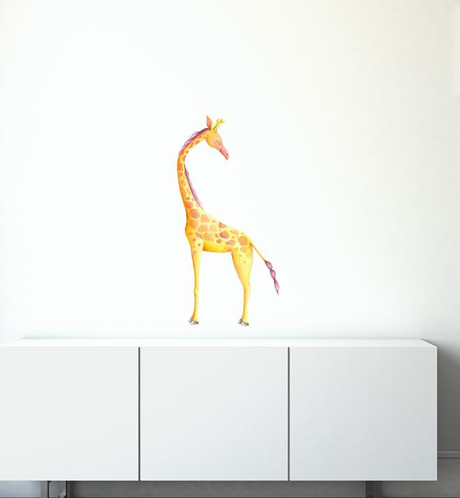 Big Giraffe Looking Around Wall Sticker