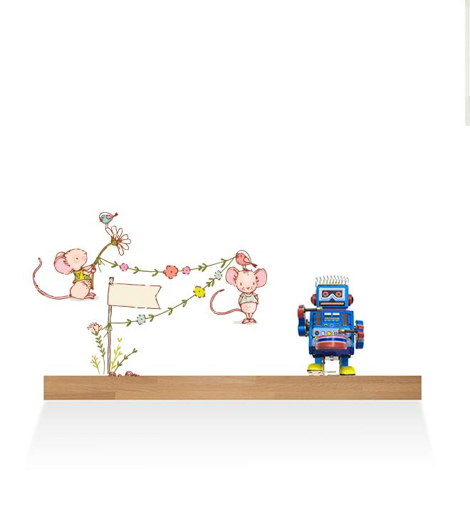 Mice Playing With Flowers Wall Sticker