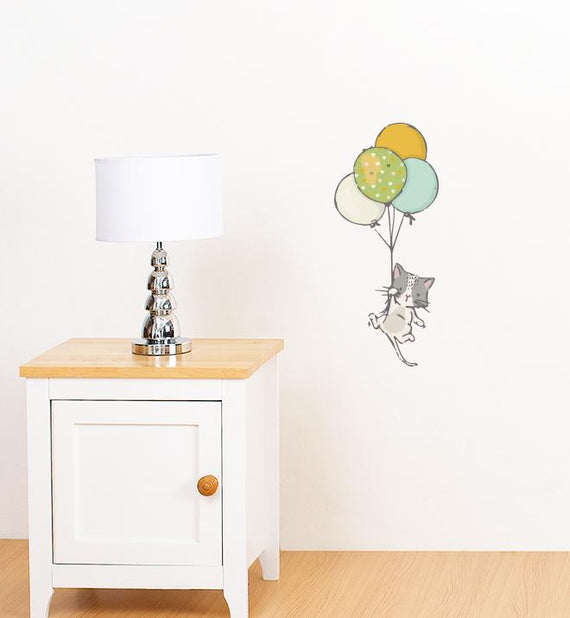 white cat floating with balloons wall sticker | little sticker boy