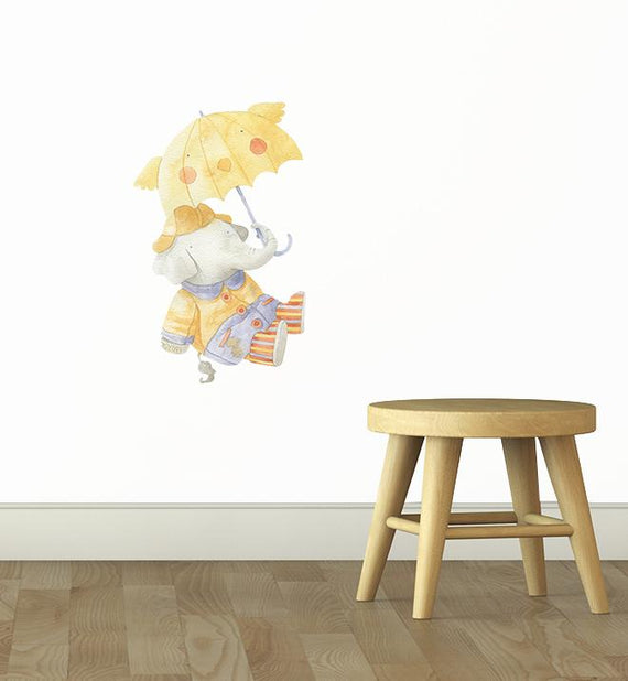 Barret The Elephant With Umbrella Wall Sticker