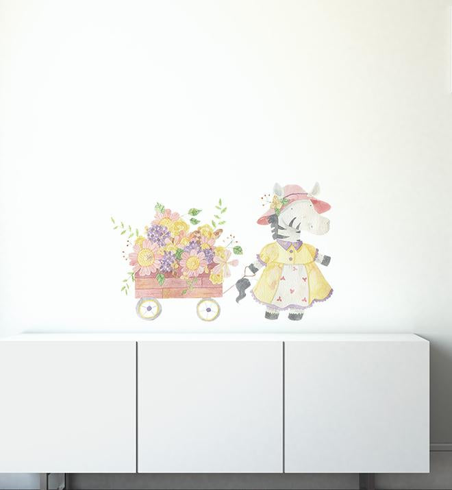 Cecilia The Zebra Pulling Her Flower Cart Wall Sticker