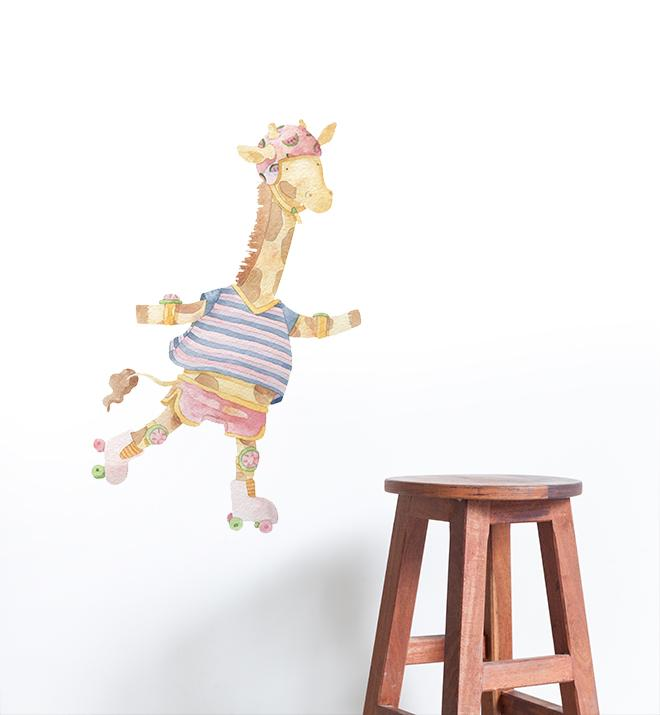 Ellie The Rollerskating Giraffe Wall Sticker