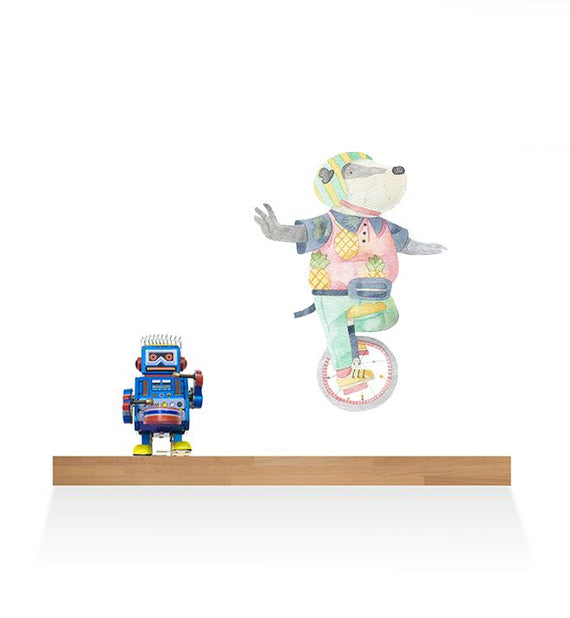 Francois The Unicycle Bear Wall Sticker