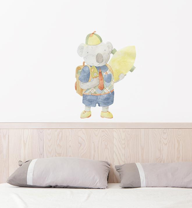 Morty The Koala Holding His Skateboard Wall Sticker