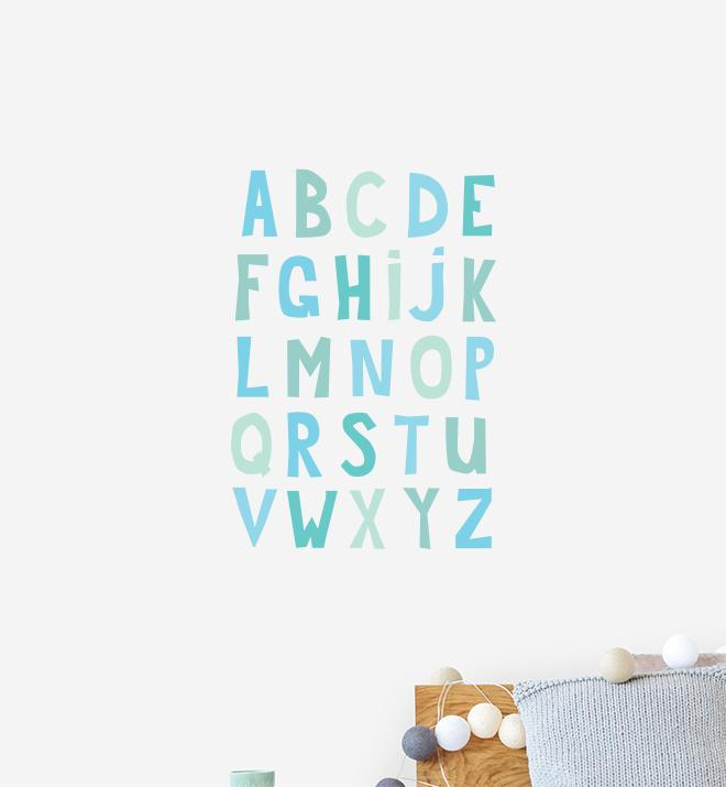 Aqua Alphabet Wall Sticker
