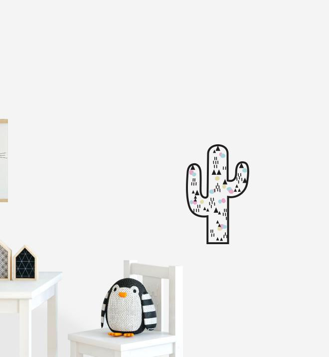 Fun Catcus With Decorations Wall Sticker