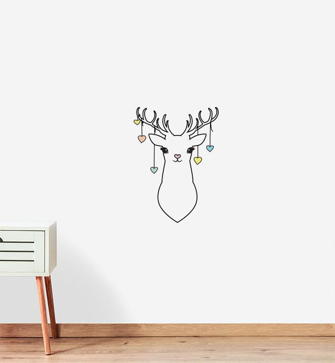 Simple Deer With Hearts Wall Sticker