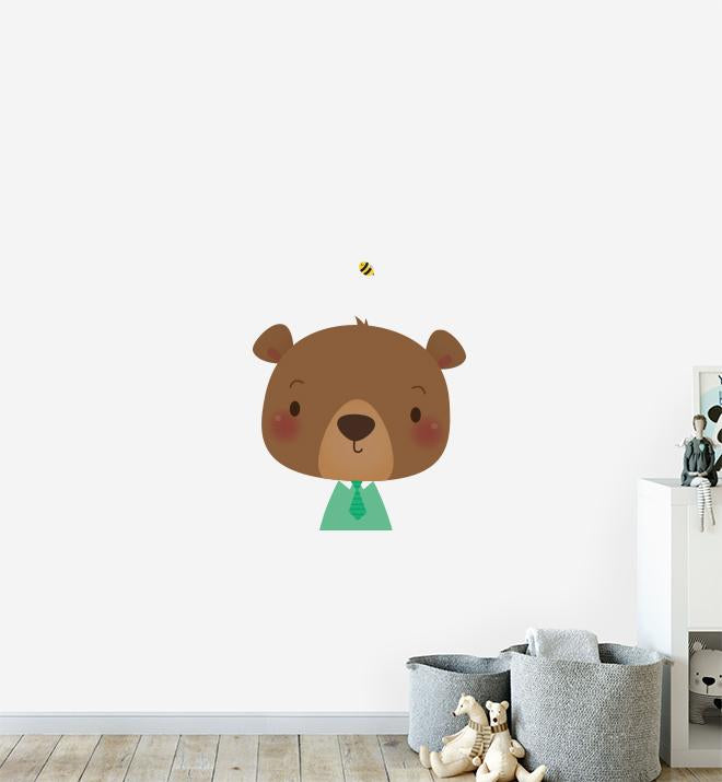 Bear with Bee Friend Wall Sticker