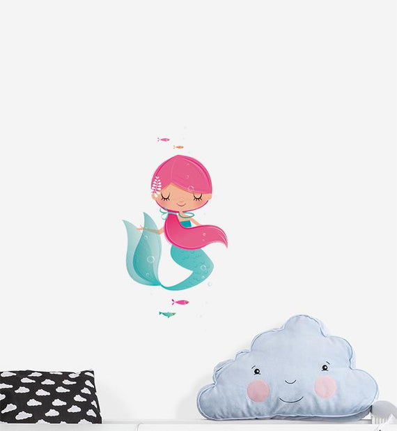 Beautiful Mermaid With Pink Ponytail Wall Sticker